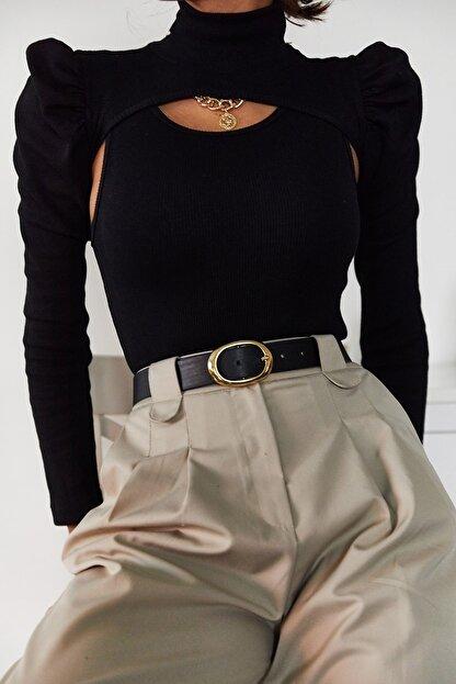 Xena Kadın Siyah İki Parçalı Prenses Kol Bluz 1KZK3-11050-02