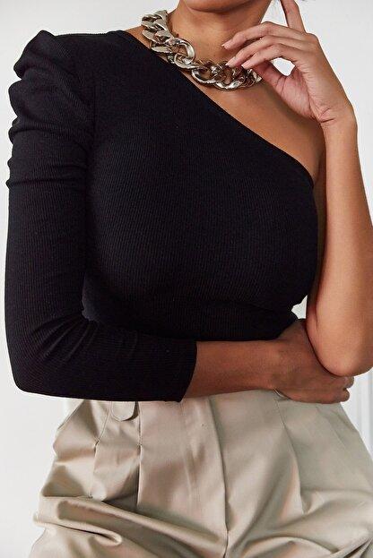 Xena Kadın Siyah Tek Kol Büzgülü Bluz 1KZK2-11033-02