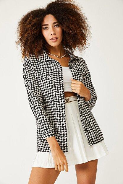 XHAN Beyaz & Siyah Kazayağı Desenli Yünlü Ceket Gömlek 1kxk2-44432-01