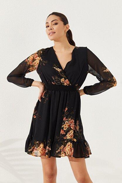 Reyon Kadın Siyah Çiçek Baskılı Elbise  20822001E2A
