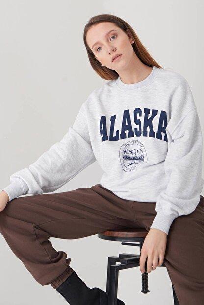 Addax Kadın Kar Melanj Baskılı Sweatshirt S9516 - W4 Adx-0000023575