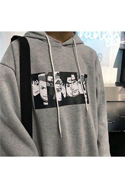cartoonsshop Kadın Gri Naruto Anime Sweatshirt