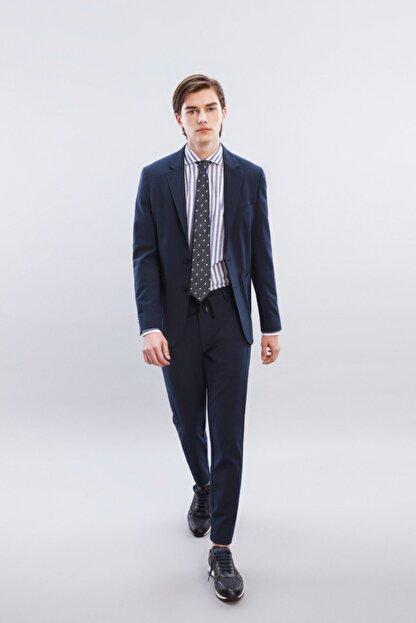 W Collection Erkek Lacivert Mavi Çizgili Blazer Ceket