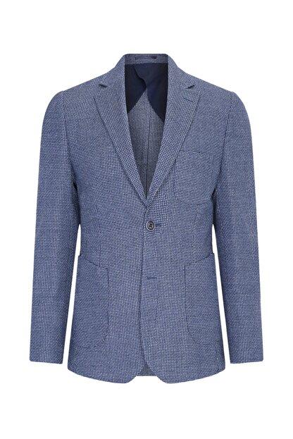 W Collection Erkek Lacivert Balık Sırtı Air Ceket