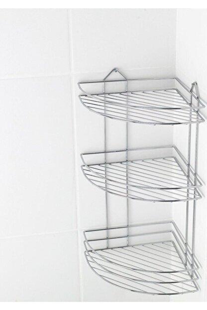 Fevito Krom Üç Katlı Banyo Köşeliği Banyo Askısı Süngerlik Ek-03