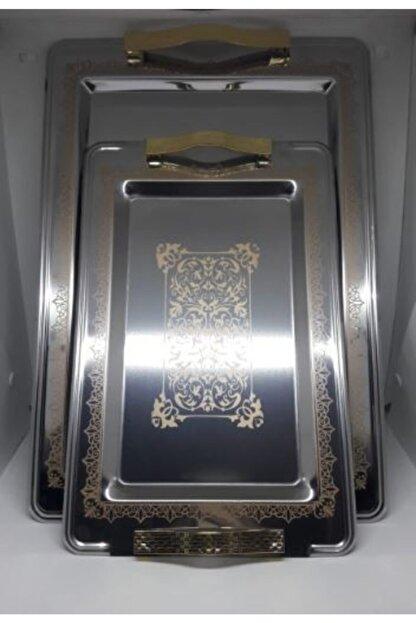 Sena Yelkenli Lüx 2'li Paslanmaz Çelik Tepsi - Altın