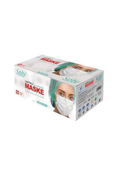 Soly Care Meltblown 3 Katlı Full Ultrasonic Telli Maske Beyaz 50 Adet