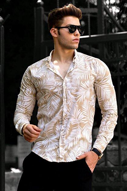 Madmext Erkek Camel Desenli  Keten Gömlek 9311