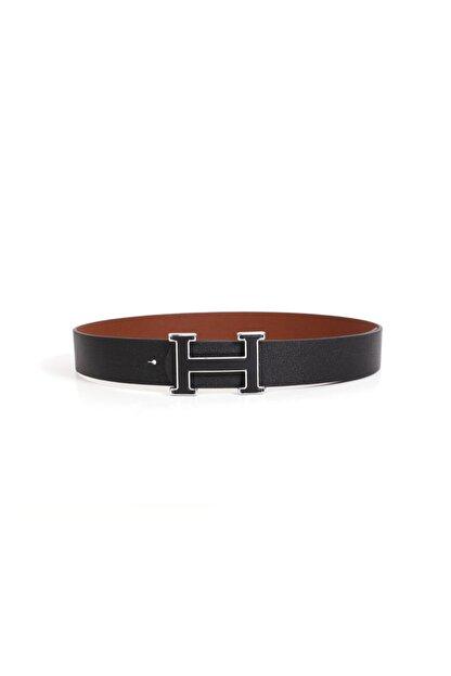 Kapin Unisex Siyah H Metal Tokalı Bel Ve Pantolon Kemeri