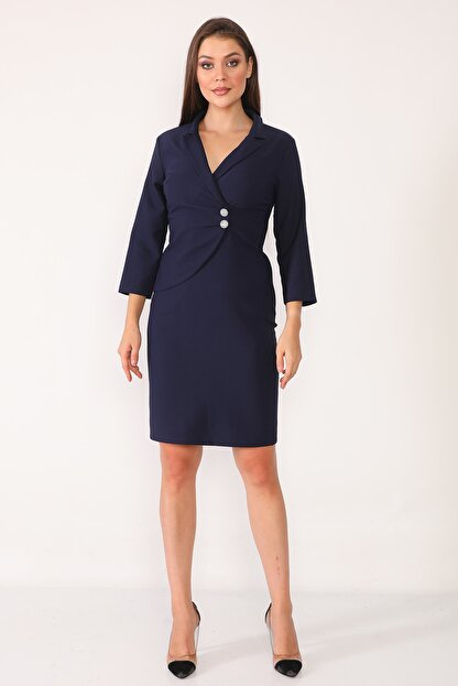 Element's Kadın Lacivert Kruvaze Yaka Ve Ön Kısmı Düğme Detaylı Ofis Elbise