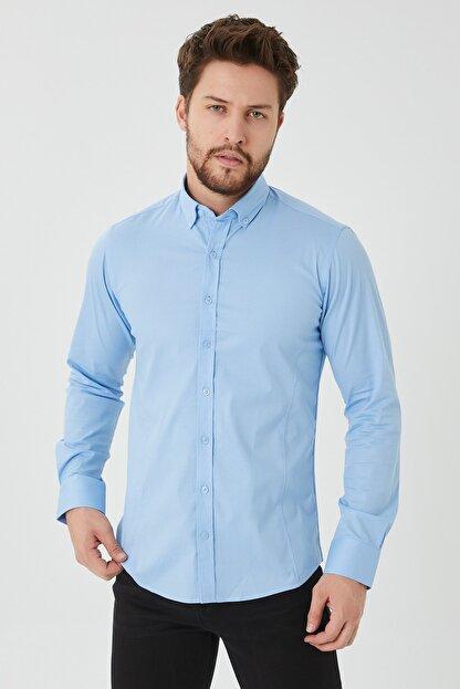 Cosmen Erkek Mavi Slim Fit Poplin Likralı Gömlek