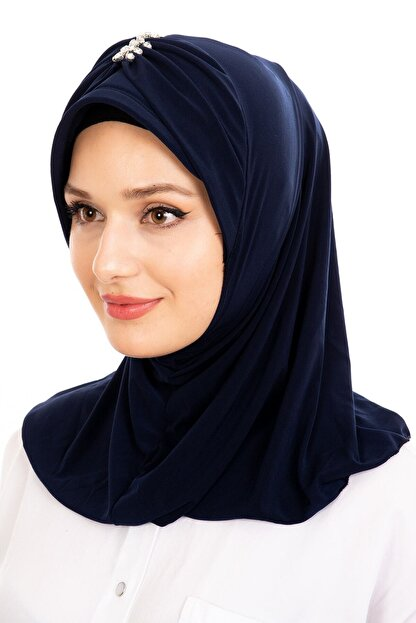 Sandy Lacivert Kelebek Taşlı Hijab Dış Bone
