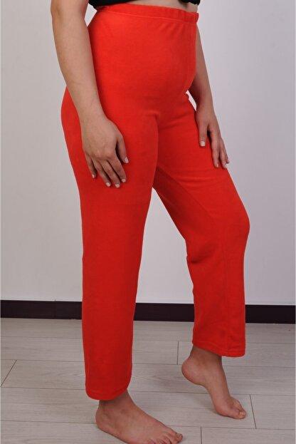 Melay Kadın Kırmızı Likralı Beli Lastikli Yüksek Bel Polar Pijama Altı