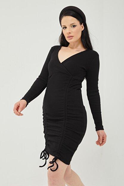 Qupa Butik Önü Büzgülü Kruvaze Yaka Kaşkorse Elbise