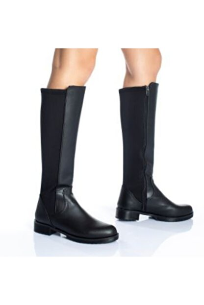 Lanina Kadın Siyah Dalgıç Kumaş Dizaltı Çizme