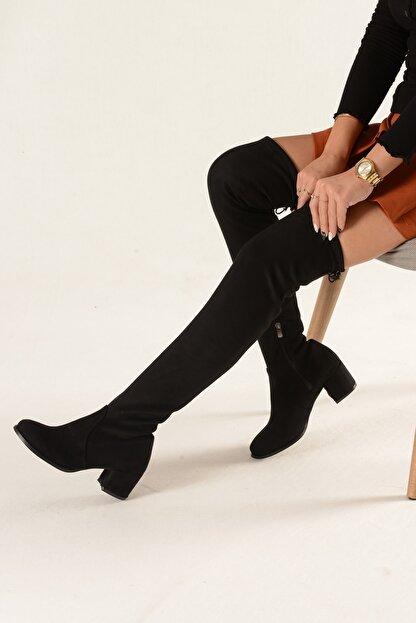 Nil Shoes Kadın Siyah Süet Streç Çizme