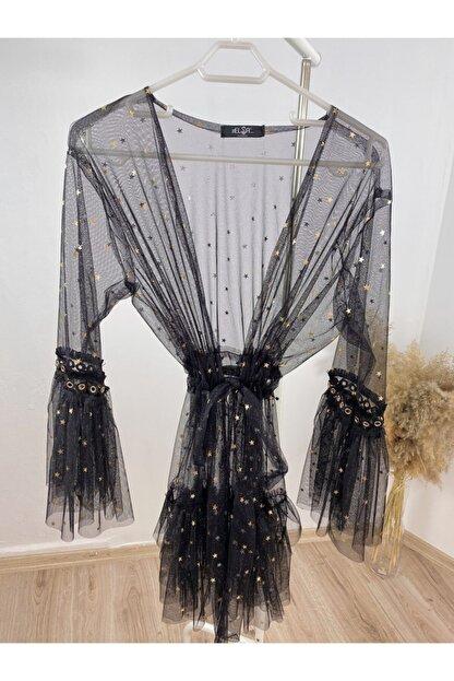The Elsa Kadın Siyah Yıldızlı Kısa Tül Kimono
