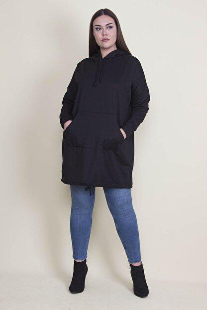 Şans Kadın Siyah Kapşonlu Kanguru Cepli Sweatshirt 65N21332