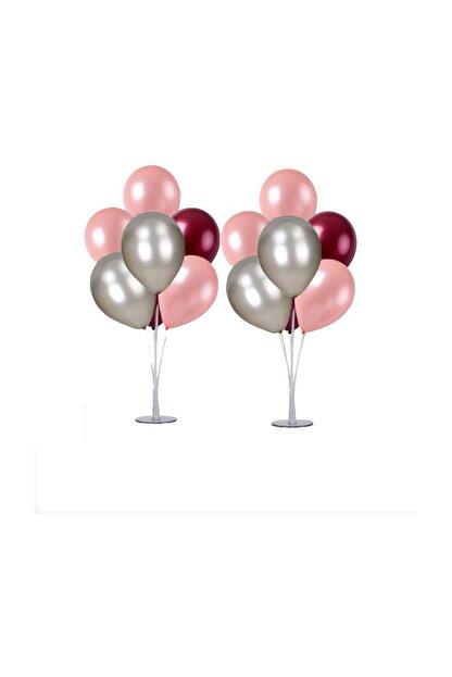 Magic Hobby 2 Adet 7'li Balon Standı Ve 14 Adet Rose Gold- Gümüş - Bordo Metalik Balon Set