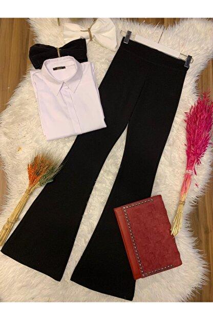 TRENDBUTİK Ispanyol Paça Pantalon Siyah