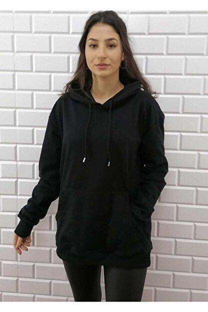 KALİK Unisex Oversize Siyah Kapüşonlu Kanguru Cep Sweatshirt