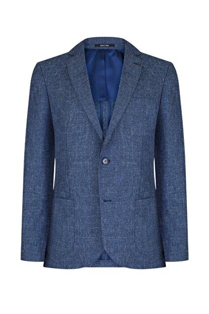W Collection Erkek Petrol Mavi Jakarlı Ceket