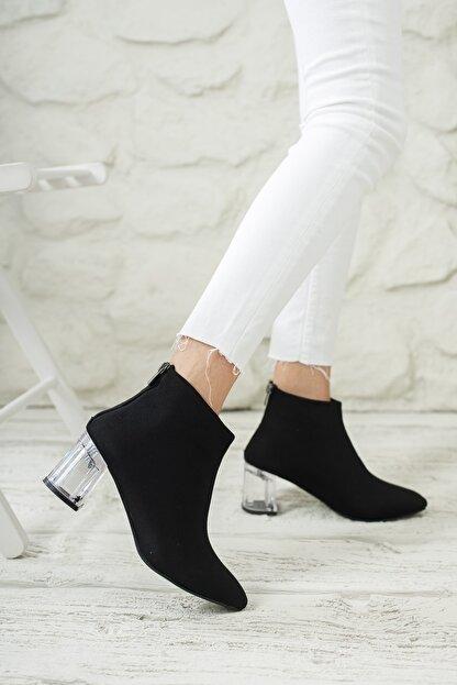 Moda Değirmeni Kadın Siyah Dalgıç Bot Şeffaf Topuk Bot Md1050-116-0001
