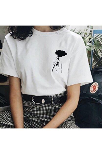 Ef Butik Beyaz Elde Gül Tişört