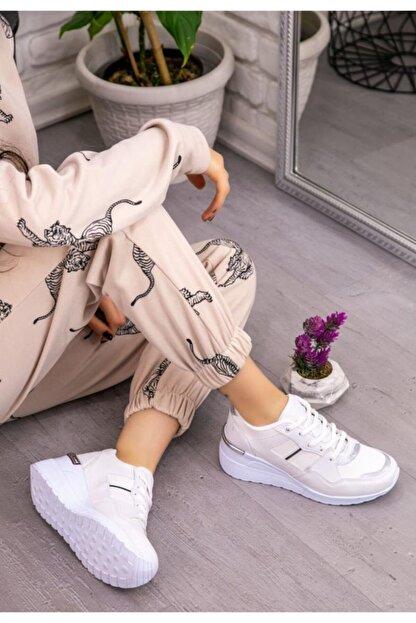 Espardile Kadın Beyaz  Dux Cilt Bağcıklı Spor Ayakkabı