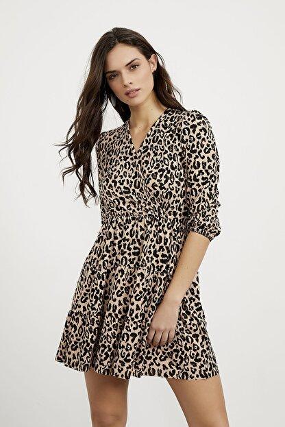 Arma Life Kadın Kahverengi Kruvaze Kaşkorse Elbise