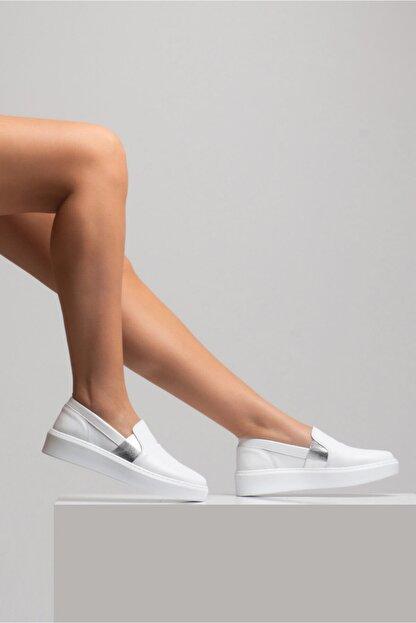 GRADA Kadın Sade Düz Beyaz Hakiki Deri Sneaker Ayakkabı