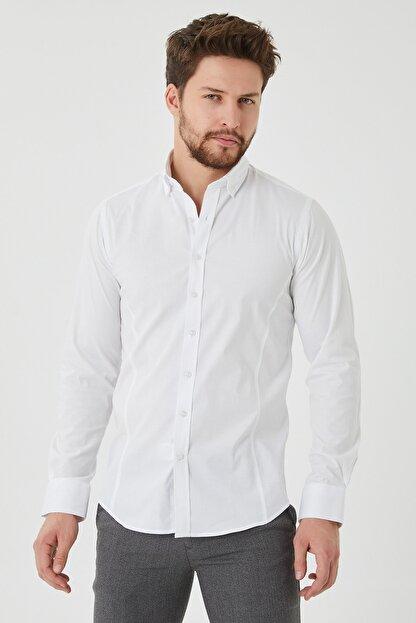 Cosmen Erkek Beyaz Slim Fit Poplin Likralı Gömlek