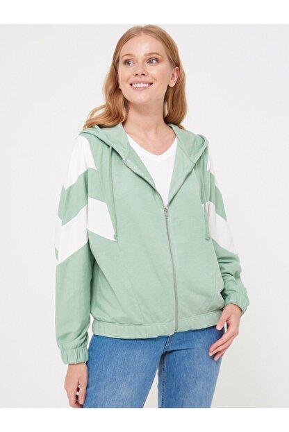 LC Waikiki Kadın Mat Yeşil Sweatshirt 0WCF16Z8