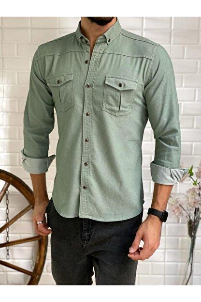 BLG SPORTSWEAR Erkek Yeşil Slim Fit Likralı Kendinden Çizgili Mevsimlik Gömlek