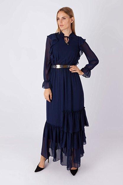 NOMENS Kadın Kemer Detaylı Şifon Uzun Elbise