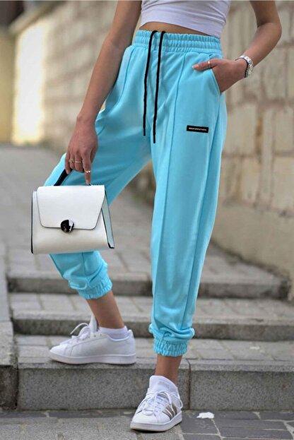 Madmext Kadın Neon Mavi Mad Girls Jogger Eşofman Altı Mg303