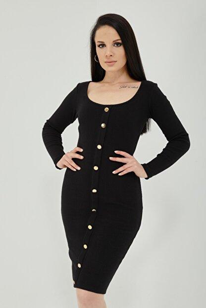 Qupa Butik Önü Düğmeli Kaşkorse Elbise