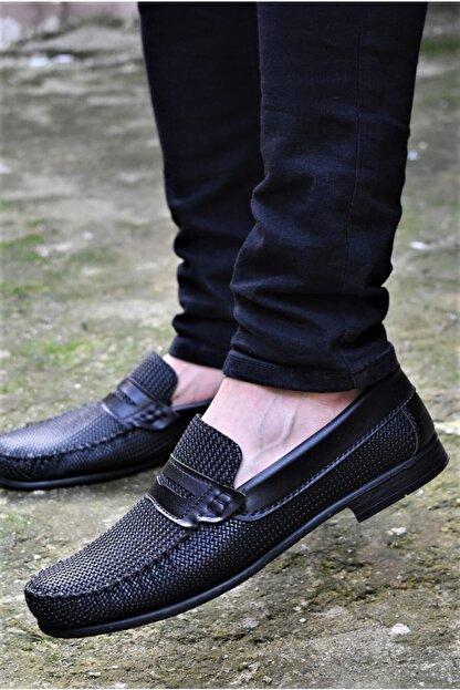 ALBİDÜNYA Erkek Siyah Günlük Baska Detay Modelli Ayakkabı