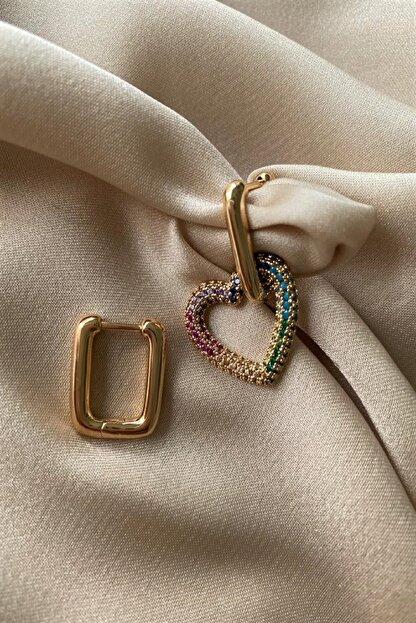 Madame Daisy Bijuteri Ithal Vip Serisi Mix Taşlı Gold Kalp Küpe