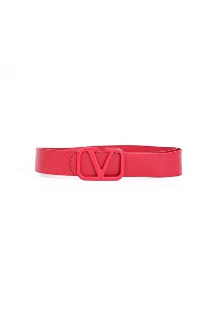 Kapin Kadın Kırmızı V Tokalı Bel Ve Pantolon Kemeri
