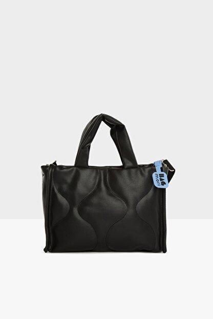 Bagmori Kadın Siyah Oval Nakışlı Puf Şişme Çanta M000005405