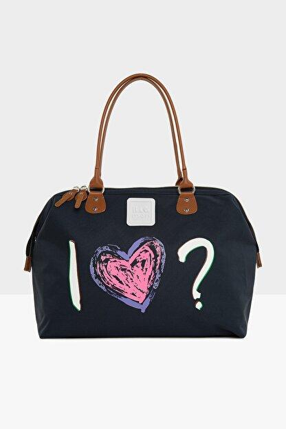Bagmori Lacivert Kadın Love Baskılı Omuz Askılı Çanta M000005418