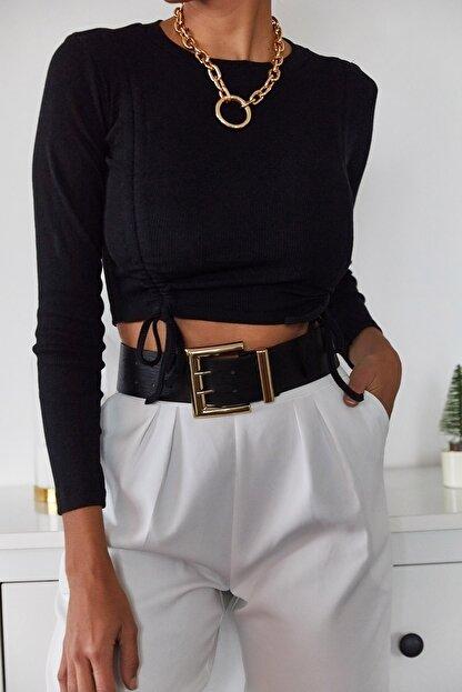 Xena Kadın Siyah Büzgülü Bluz 1KZK2-11036-02