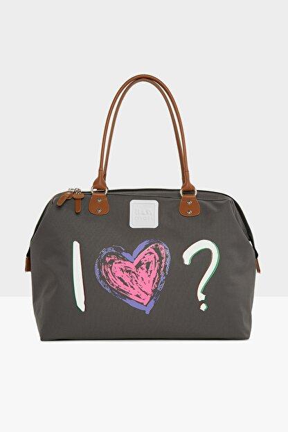 Bagmori Gri Kadın Love Baskılı Omuz Askılı Çanta M000005416