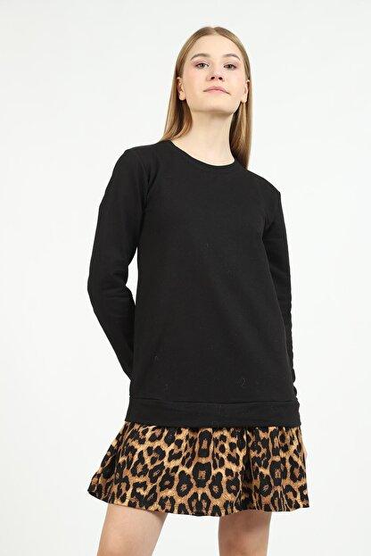 Kare Butik Kadın Siyah Leopar Desenli Sweatshirt Elbise