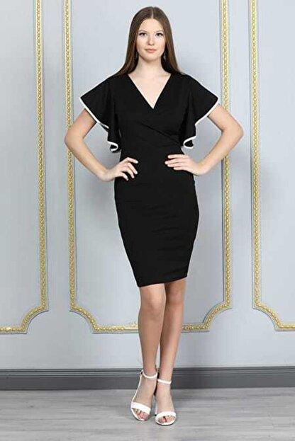 bayansepeti Kadın Siyah Esnek Krep Kumaş Kruvaze Yaka  Mini Elbise