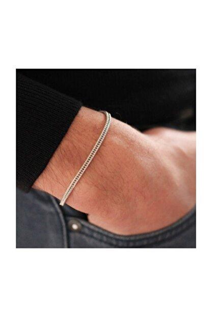 MedBlack Jewelry Unisex Gümüş Renk Tilki Kuyruğu Zincir Bileklik