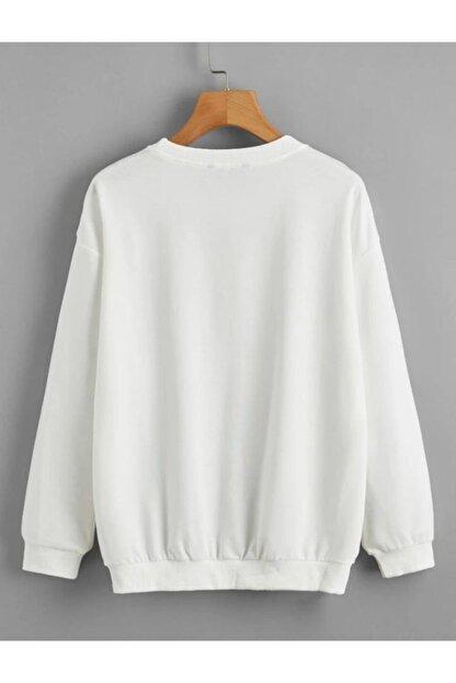 cartoonsshop Unisex Beyaz Düz Basic Sweatshirt