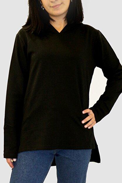 Rock & Roll Kadın Siyah Düz Baskısız Arkası Uzun Yanları Yırtmaçlı Kapşonlu Sweatshirt