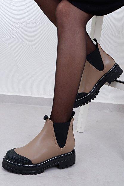 Tinka Bell Shoes 0557 Kadın Bot Vizon Cilt